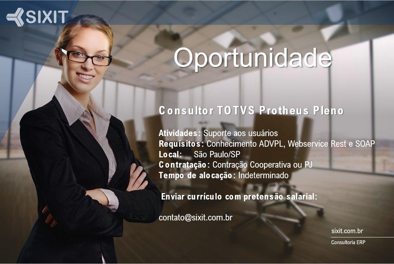 Oportunidade Consultor Protheus Pleno